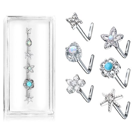 L Bend 316L Surgical Steel Nose L Bend Stud Rings stars flower butterfly 6pc