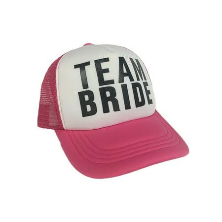 4a8432fabc0 Team Bride Pink Trucker Hat Bachelorette Party Cap Wedding Neon Bridal Hen  Do - image 1 ...