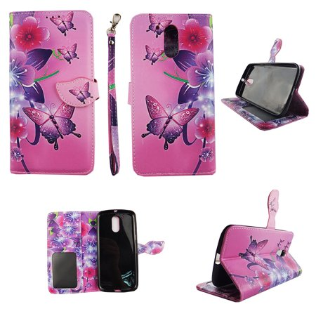 Butterfly Flower Pink Wallet Folio Case for Motorola Moto 4G Plus Fashion Flip PU Leather Cover Card Cash Slots &