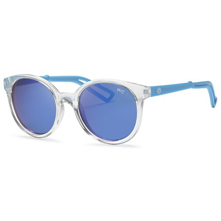 Hawaiian Island Creations Retro Fashion Rendy Style Kids Polarized Polycarbonate Sunglasses - Transparent Frame Blue Arms / Blue Revo (Best Way To Clean Polycarbonate Lenses)