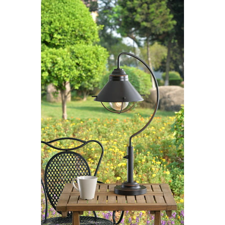 Kenroy Home Coastal Industrial Outdoor Table Lamp, LED Edison Bulb Included, 27 Inch Height, Oil Rubbed Bronze Finished Powder Coated Steel, UL Listed for Wet Locations, Vintage Lantern Appearance