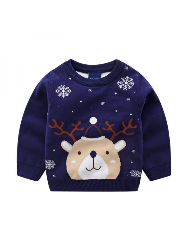 for Winter Chrismas 2-3 Years Toddler Youth Teen Boys Girls Christmas Cartoon Knit Print Sweater knitwear Janly Clearance Sale 0-10 Years Old Girls Tops Gray