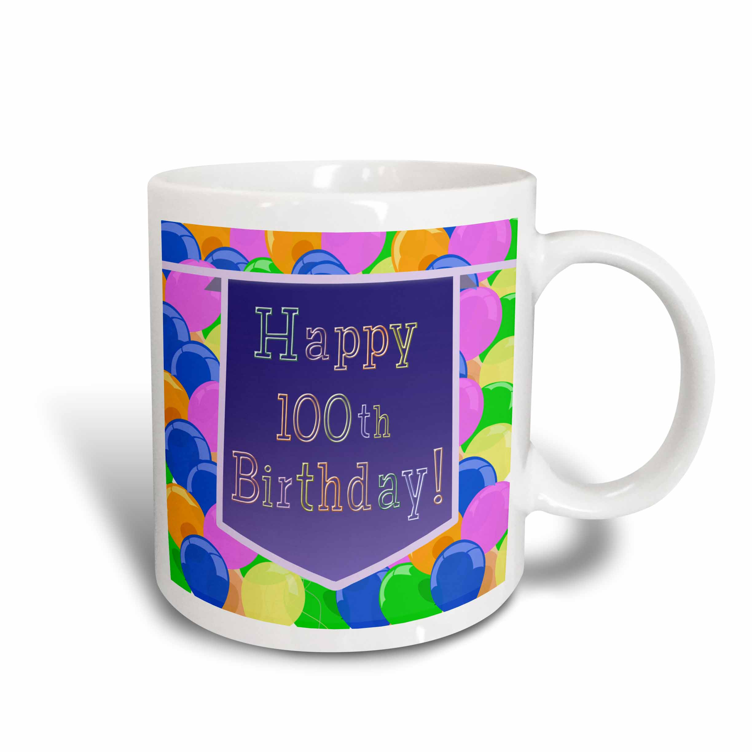 3dRose Balloons with Purple Banner Happy 100th Birthday, Ceramic Mug, 11-ounce