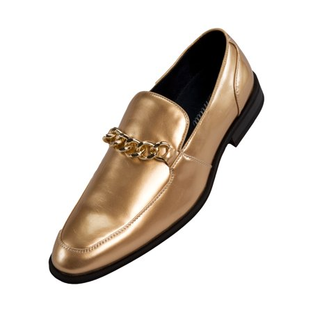 Amali Mens Microfiber & Patent Slip on Dress Shoe with Large Chain Style Vino/Gino Available in Black & Gold, Black, Gold