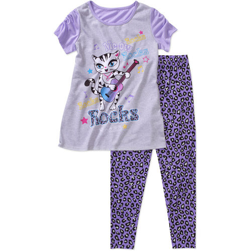 Girls' 2 Piece Tee and Legging Pajama Set