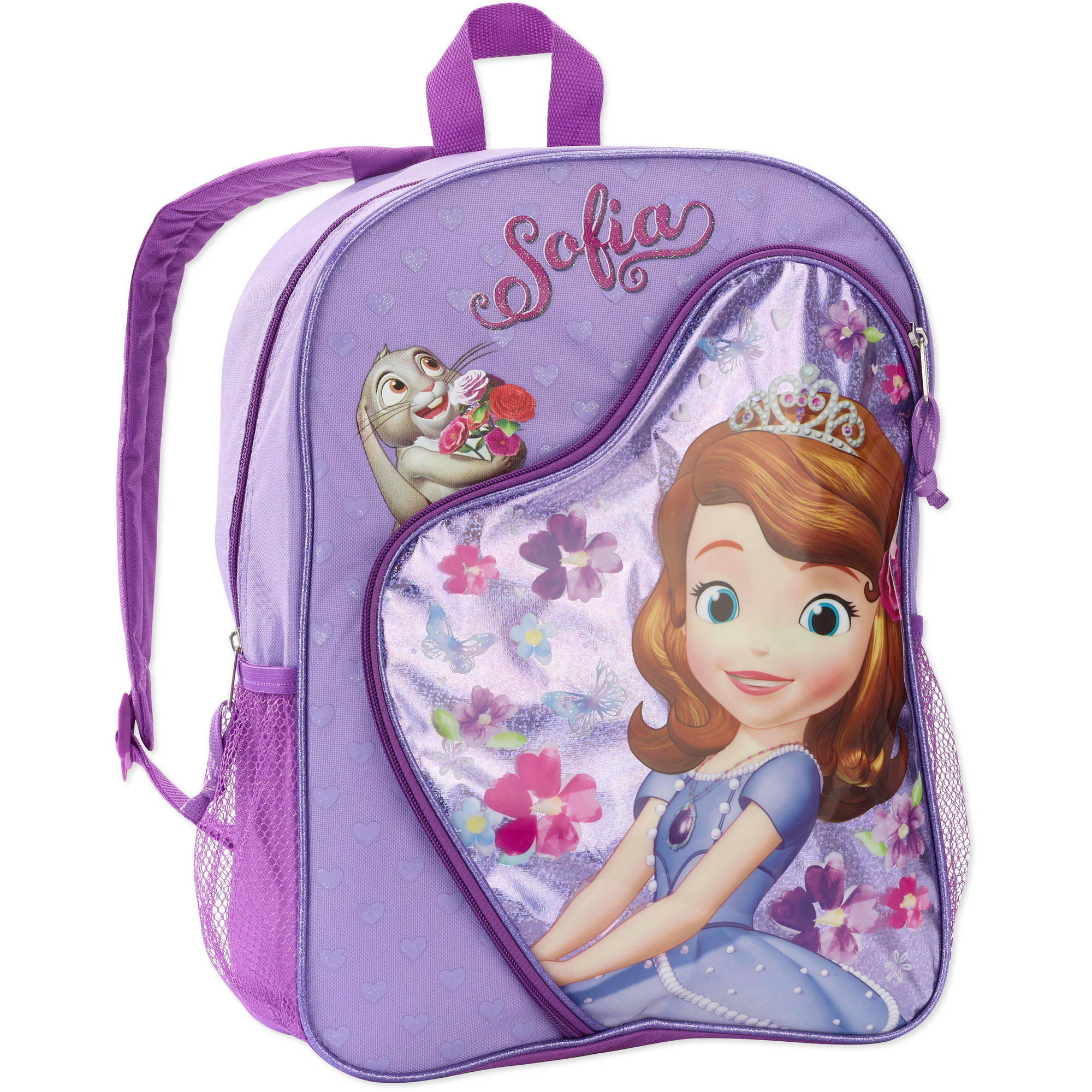 Disney Sofia The First 16'' Deluxe Heart Shaped Pocket and Polka Dots Kids Backpack