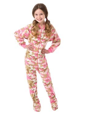 Big Feet Pjs Big Girls Pink Camo Kids Footed Pajamas One Piece Sleeper