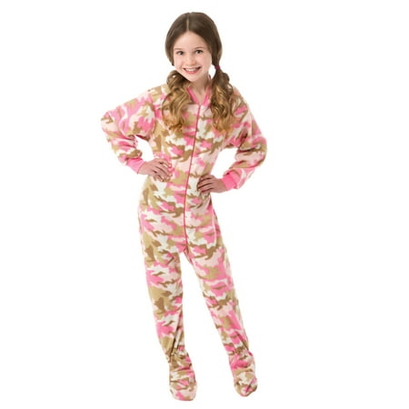 Big Feet Pjs Big Girls Pink Camo Kids Footed Pajamas One Piece Sleeper (Superhero Pjs For Kids)