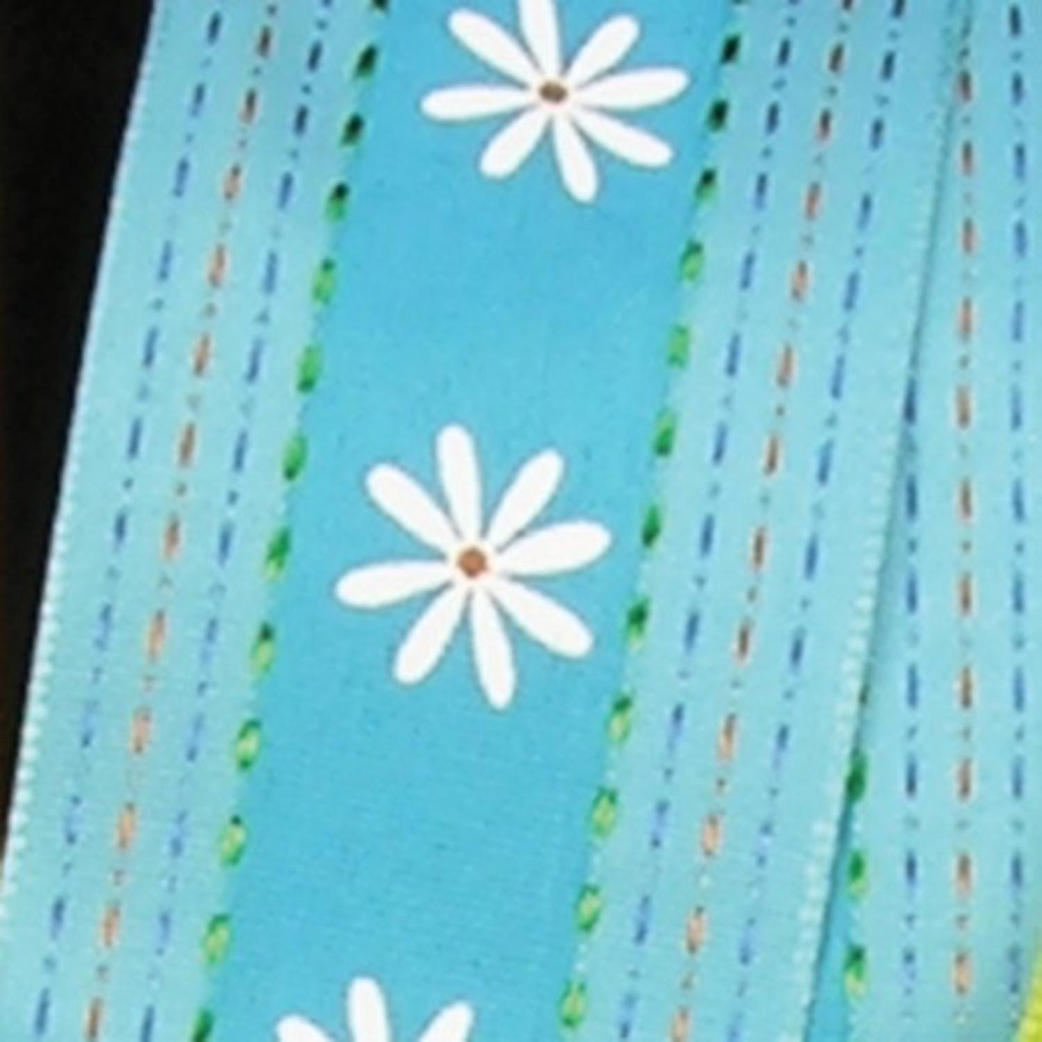 "Blue Flower Centered Taffeta Wired Craft Ribbon 1.5"" x 54 Yards"