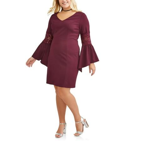 Women's Plus Size Lace Pieced Bell Sleeve Dress