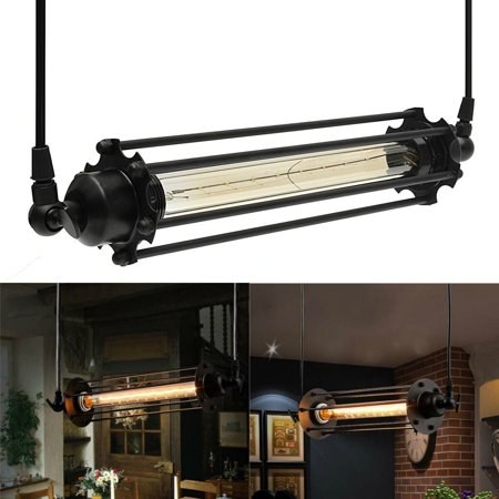 Meigar Vintage Flute Pendant Ceiling Light,Black Industrial Retro Hanging Ceiling Light for Kitchen Bar Bedroom Decor ()