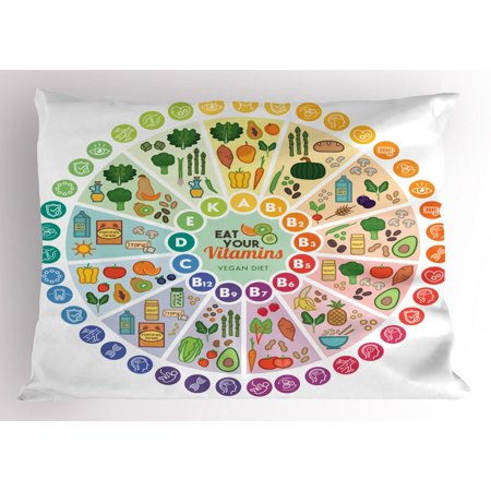 Vegan Pillow Sham, Vitamin Vegan Food Sources and Functions Rainbow Wheel Chart with Icons Healthcare, Decorative Standard Size Printed Pillowcase, 26 X 20 Inches, Multicolor, by Ambesonne (Standard Size Chart)