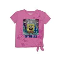 Spongebob Squarepants Girls 4-18 Side-Tie Graphic T-Shirt