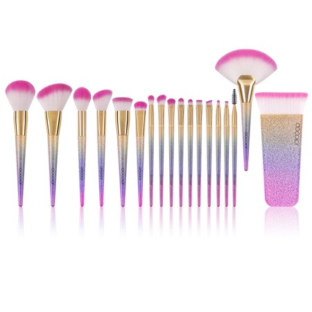 Docolor 16 Pcs Unicorn Makeup Brushes Set+Fantasy Fan Makeup Brush+Contour Makeup Brush