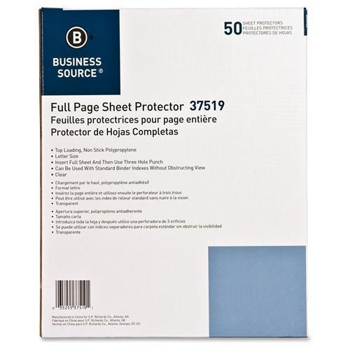 Business Source BSN37519 Full Sht Top Load Poly Sht Protectors Pack of 50