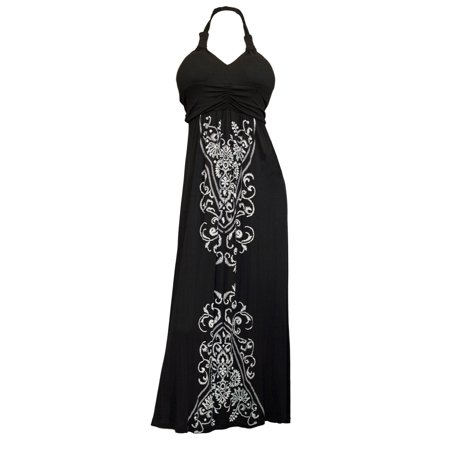 Plus Size Black Embroidery Print Maxi Halter Neck Cocktail - Back Halter Dress