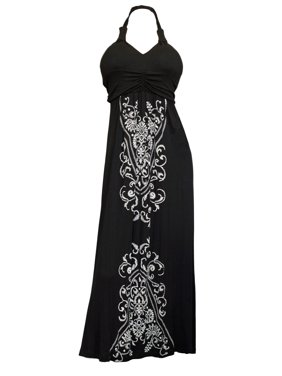 eaa275eda95 Product Image Plus Size Black Embroidery Print Maxi Halter Neck Cocktail  Dress. eVogues Apparel