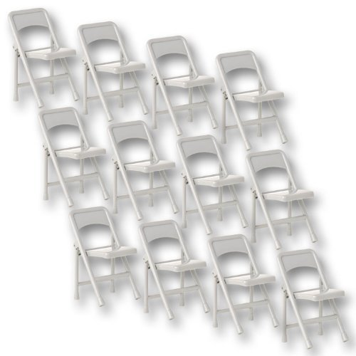 Set of 12 Gray Plastic Toy Folding Chairs for WWE Wrestling Action Figures