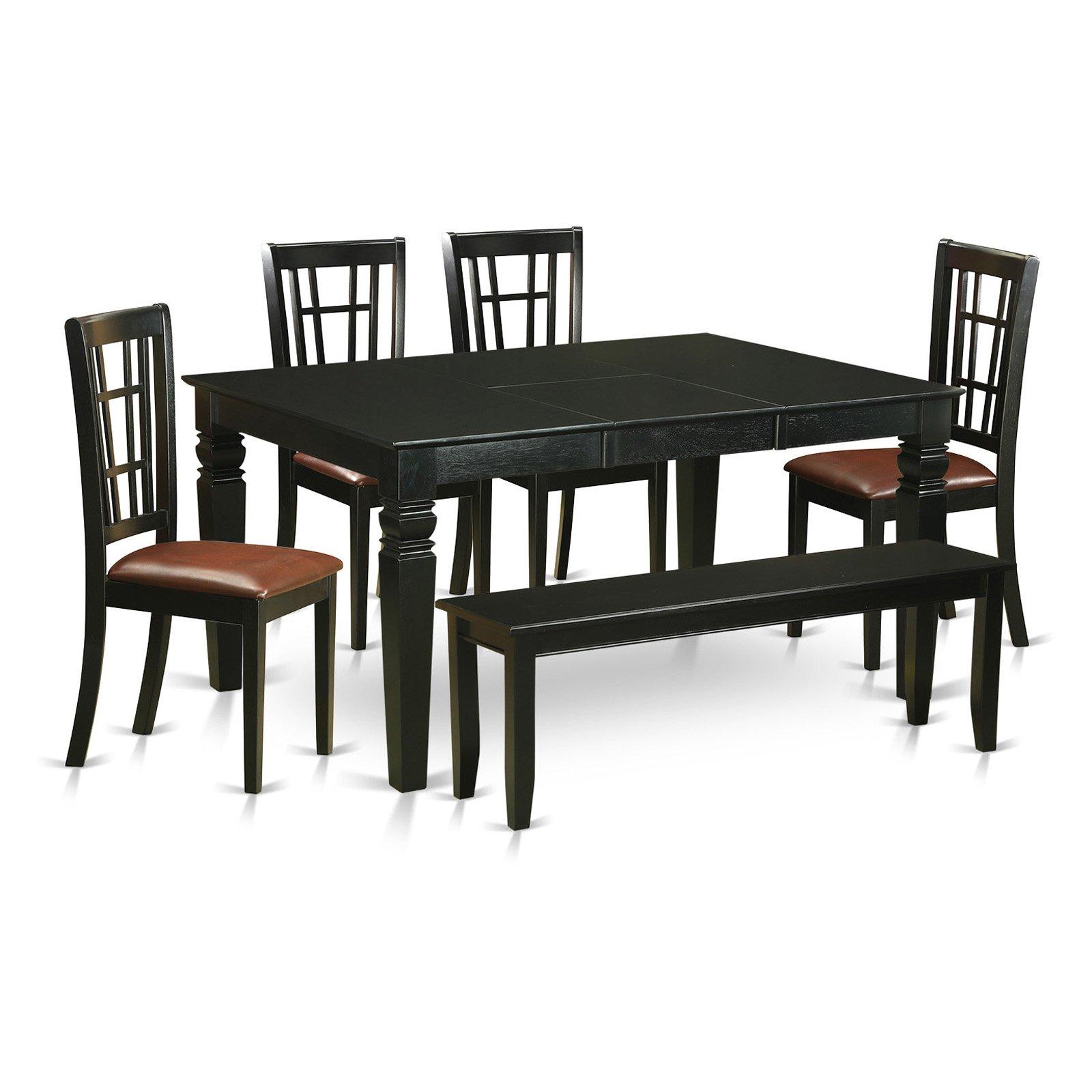 East West Furniture Weston 6 Piece Windowpane Dining Table Set