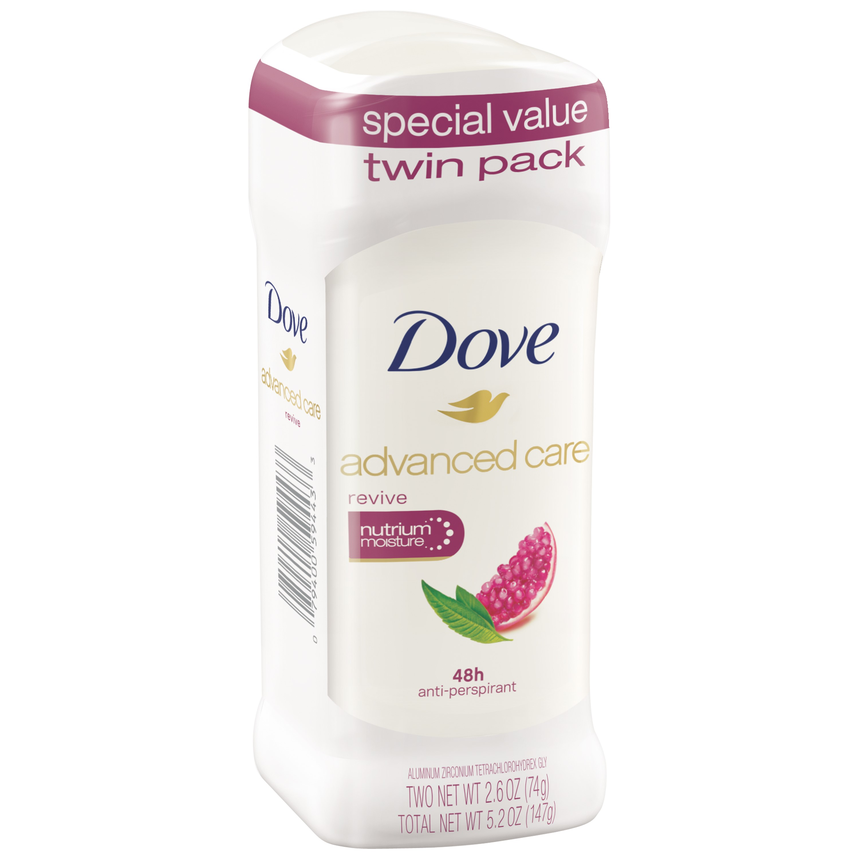 Dove Advance Care Antiperspirant Deodorant Revive 2.6 oz, Twin Pack