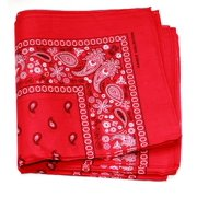 3 PK Cowboy Bandanas 100% Cotton 22 x 22 inch - Red