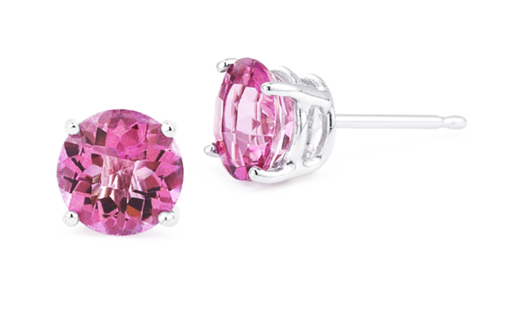 iParis Platinum Over Sterling Silver 3 Ct Round Pink Topaz Stud Earrings by
