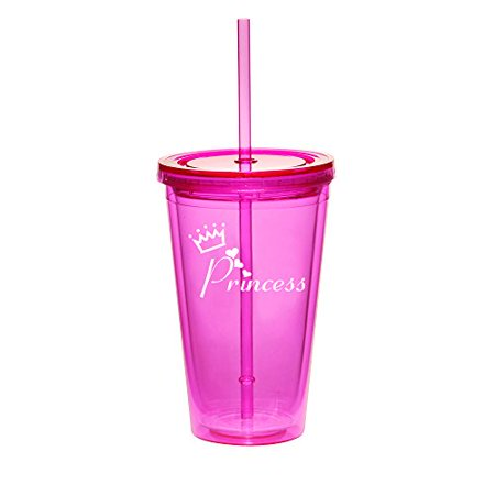 16oz Double Wall Acrylic Tumbler Cup With Straw Princess With Crown - Princess Cups