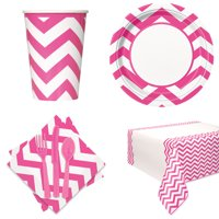 Chevron Basic School Colors Tableware 57pc Party Pack, Pink White