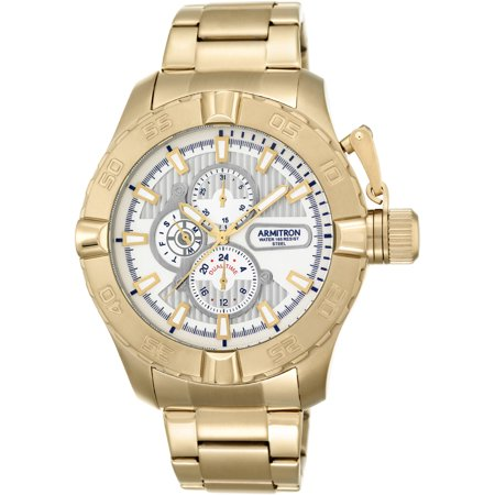 Mens Dress Bracelet Round Watch, Gold