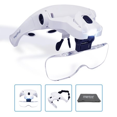 Headband Visor - MagniPros LED Illuminated Headband Magnifier Visor with Bonus Cleaning Cloth and 5 Detachable Lenses 1X, 1.5X, 2X, 2.5X 3.5X - (Upgraded Version) Hands-Free Head Worn Lighted Magnifying Glass