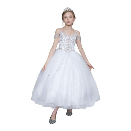 Little Girls White Jeweled Bodice Off Shoulder Strap Tulle Pageant Ball Dress 3