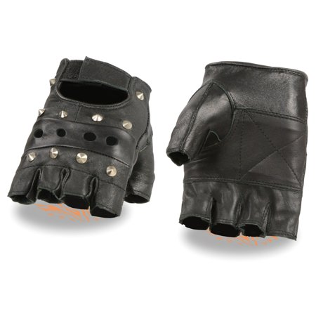 Milwaukee Leather Men's Leather Fingerless Glove With Studs and Padded Palms Leather Studded Bib