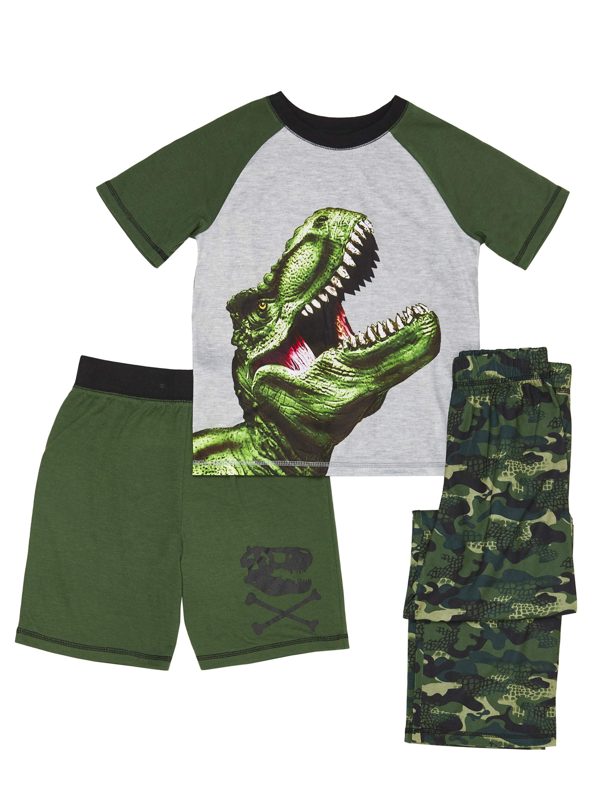 Boys' Dinosaur Camo 3 Piece Pajama Sleep Set (Little Boy & Big Boy)