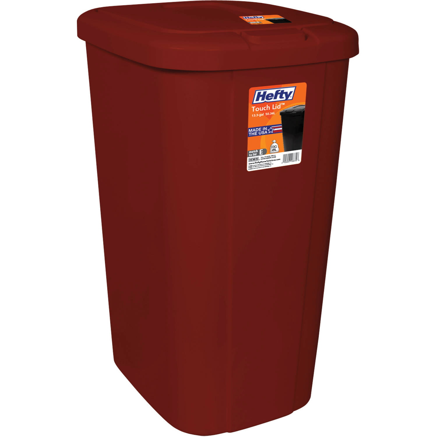 Click here to buy Hefty Touch Lid 13.3 Gallon Trash Can, Red by Generic.