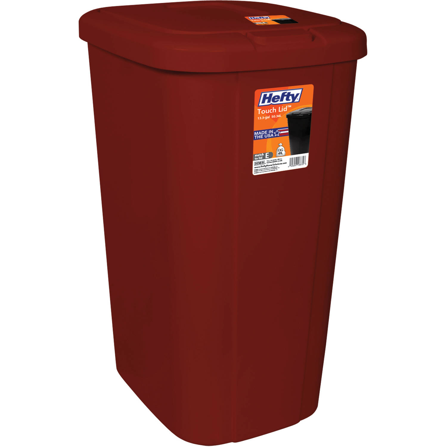 Hefty Touch-Lid 13.3-Gallon Trash Can, Multiple Colors