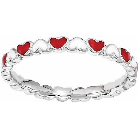 Sterling Silver Red & White Enamel Heart Ring