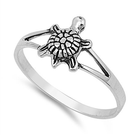 Girl's Small Turtle Classic Ring New .925 Sterling Silver Thin Band Size 5 (Sterling Silver Small Flat Back)