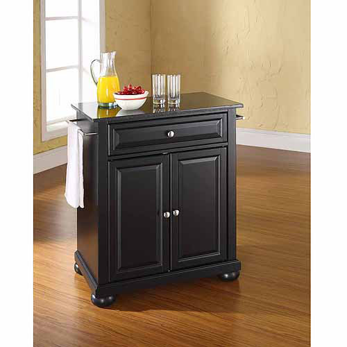 crosley furniture alexandria solid black granite top portable kitchen island