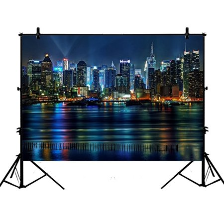 GCKG 7x5ft NYC New York City Colorful Buildings At Night Polyester Photography Backdrop Studio Photo Props Background