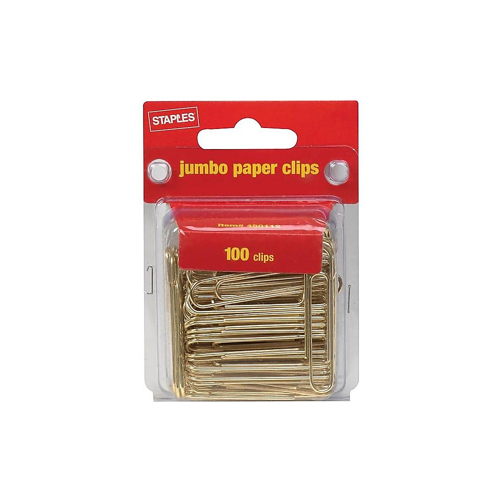 Staples Jumbo Gold Paper Clips Smooth 100/Pack (32012) 480112