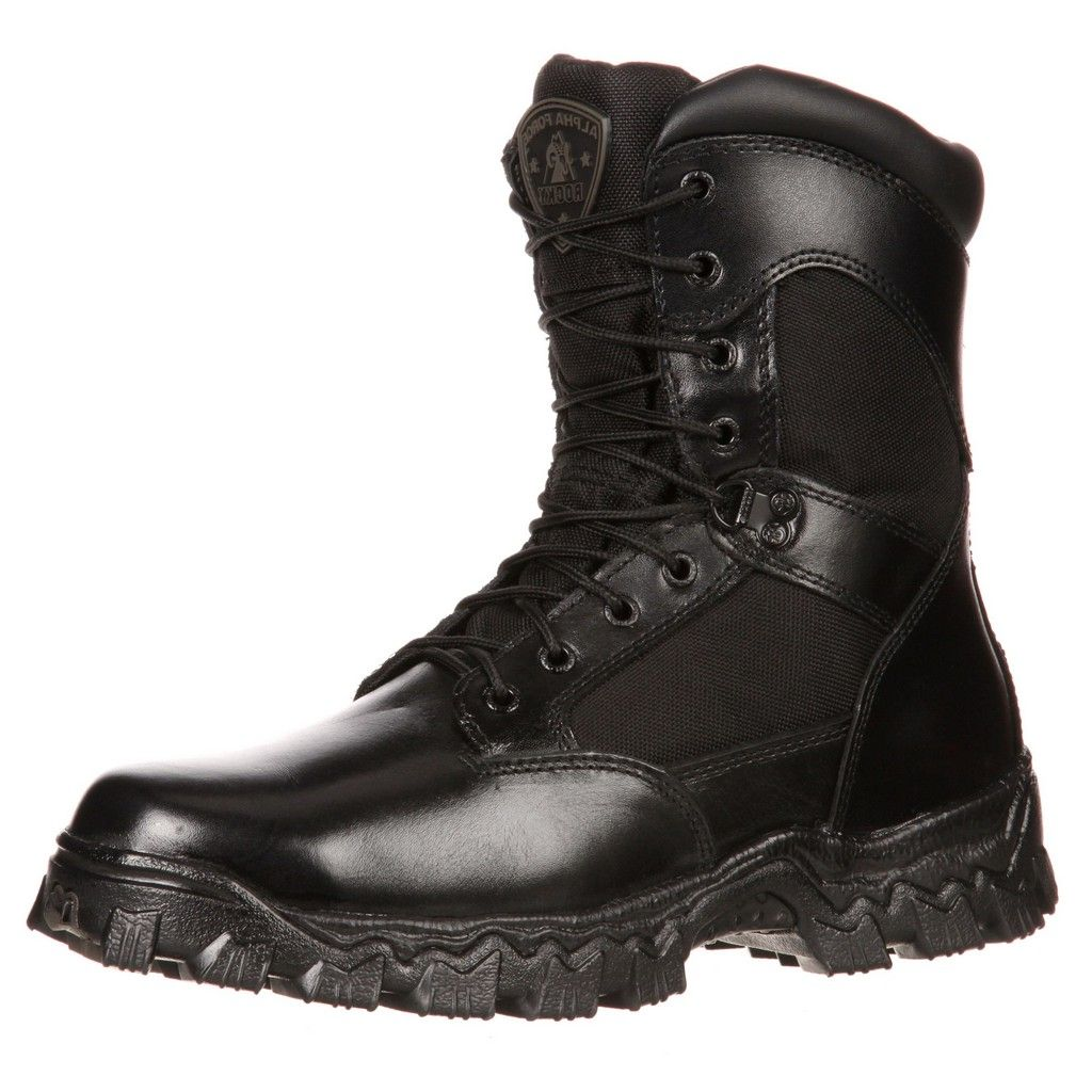 Rocky Work Boots Mens Alphaforce Waterproof Zipper CT Black FQ0006173