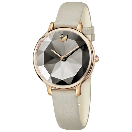 Swarovski Women's Crystal Lake Rose Gold Tone Leather Watch - -