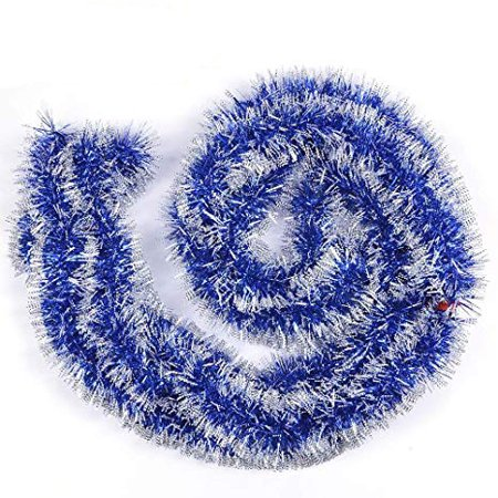 12ft Christmas Tinsel Garland,2Pcs x 6.0ft Soft Christmas Garland Classic Shiny Sparkly Party Ornaments Hanging Xmas Christmas Tinsel Christmas Tree Ceiling Decorations,Unlit(Blue)](Party City Garland)