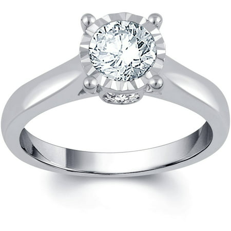 1 Carat T.W. IGL Certified Round White Diamond 14kt White Gold Sol Plus Engagement