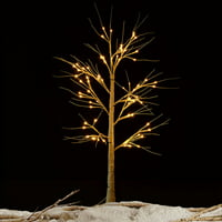 Costway Christmas Xmas White Birch Snow Tree LED Light Warm Decorative Party Festival
