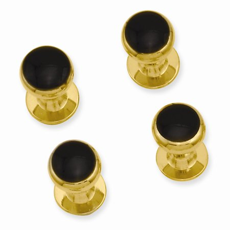 Gold-plated Kelly Waters Four Piece Black Epoxy Tuxedo Studs