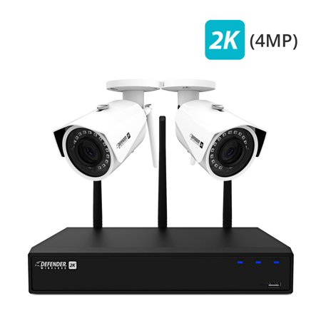 Defender 2K (4MP) Wireless 4 Channel 1TB NVR Security System with Remote Viewing, Motion Detection and 2 Wide Angle, Night Vision Wi-Fi