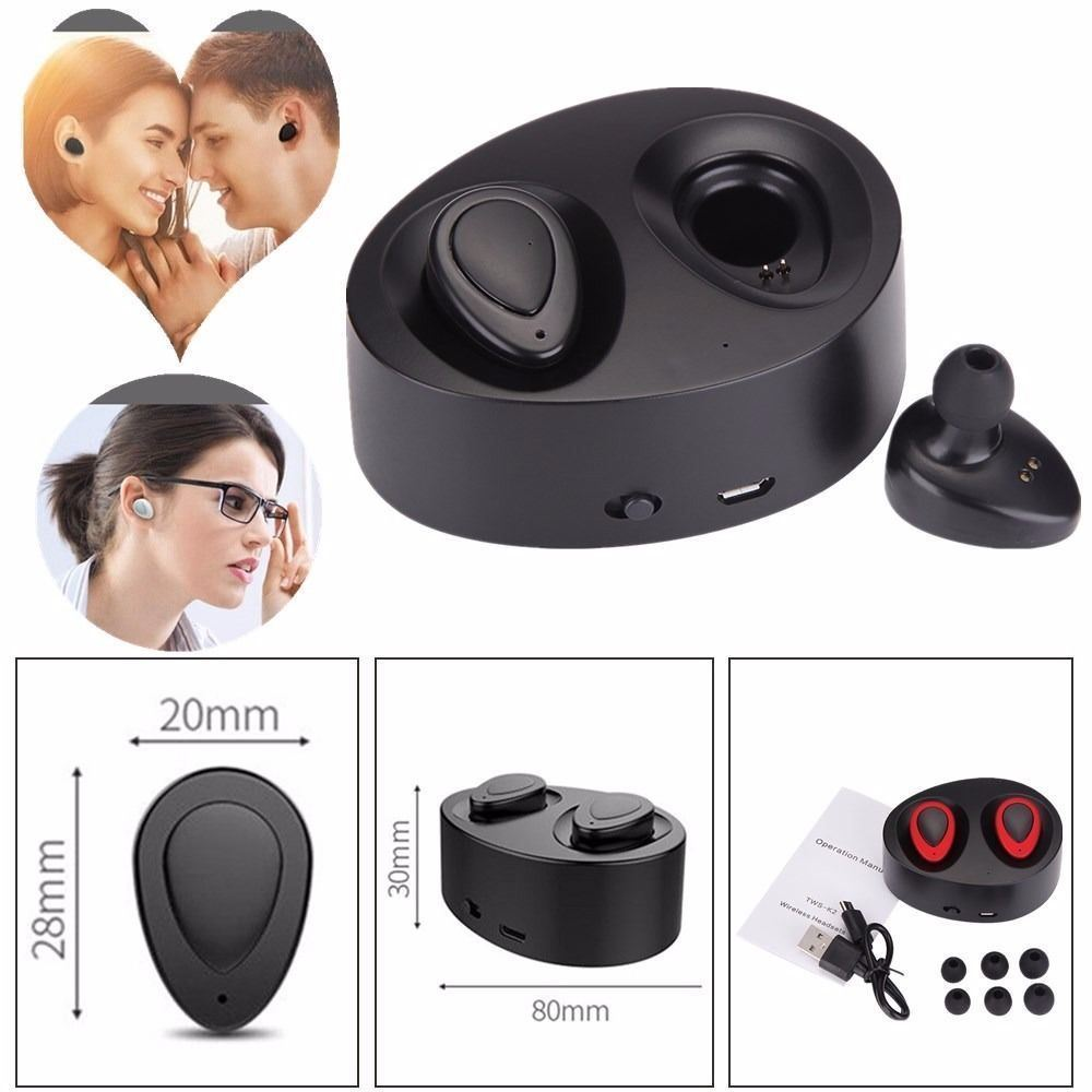 Wireless TWS Mini True Bluetooth V4.1 Headset with Storage Box Buily-in Lithium Twins Stereo In-Ear Earphone Earbuds for iPhone/Android Smart Phones(Back)