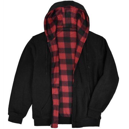 Victory Outfitters Men's Reversible Hooded Buffalo Plaid Fleece Jacket