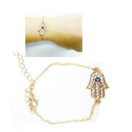 Gold Lucky Bracelet Kabbalah Hamsa Hand Evil Eye Judaica Protection Adjustable ()